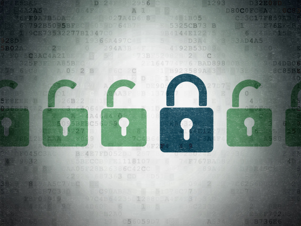 Closed blue padlock icon in a row of open green locks, against a digital background